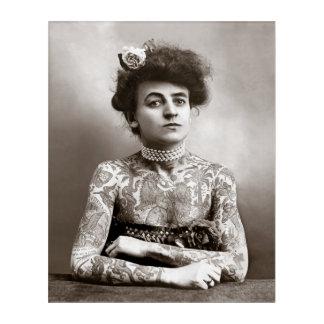 Tattooed Lady, 1907. Vintage Photo Acrylic Wall Art