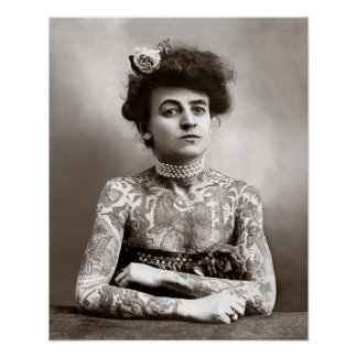 Tattooed Lady, 1907. Vintage Photo Poster