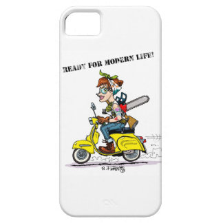 Tattooed pin-up riding to her to scooter motorbike iPhone 5 cover