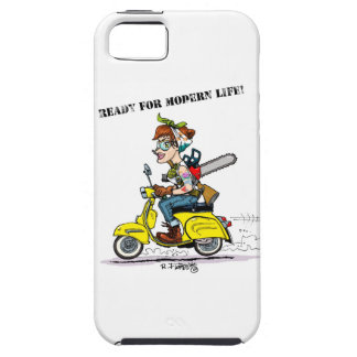 Tattooed pin-up riding to her to scooter motorbike iPhone SE/5/5s case