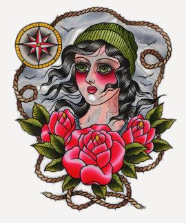 Tattooed Sailor Girl Baseball Tee