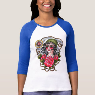 Tattooed Sailor Girl Baseball Tee
