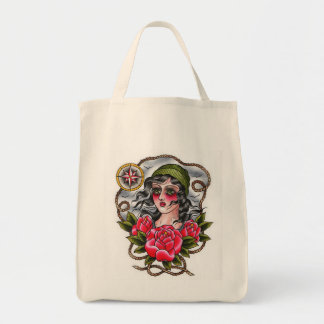 Tattooed Sailor Girl Grocery Tote