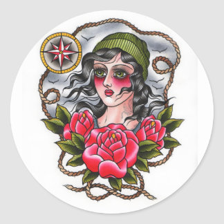 Tattooed Sailor Girl Sticker