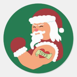 Tattooed Santa Round Stickers