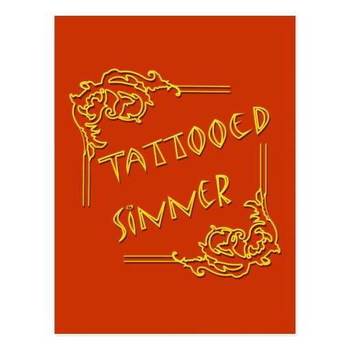 Tattooed Sinner yellow Postcard