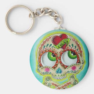 Tattooed skull basic round button keychain