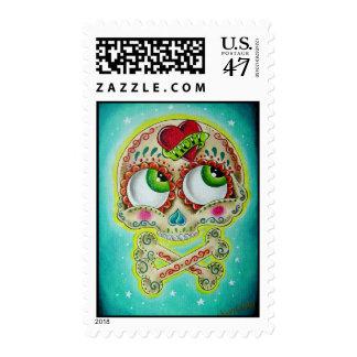 tattooed skull postage