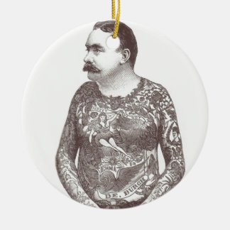 Tattooed Victorian Guy with Moustache Ceramic Ornament