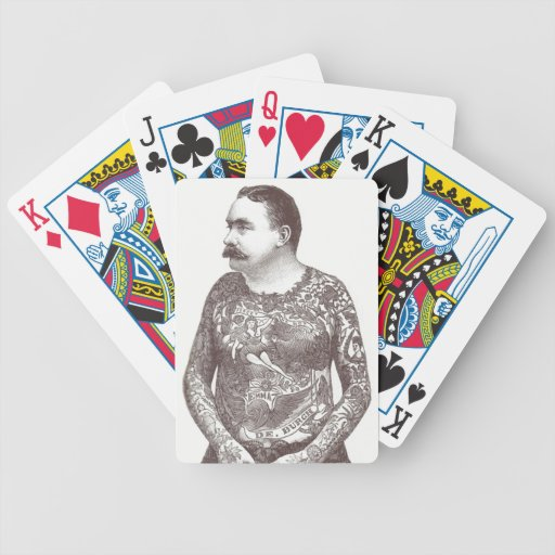 Tattooed Victorian Guy with Moustache Bicycle Poker Deck
