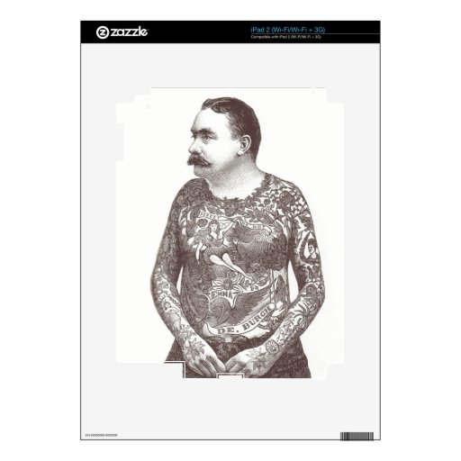 Tattooed Victorian Guy with Moustache iPad 2 Skin