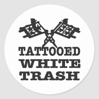 Tattooed White Trash Classic Round Sticker