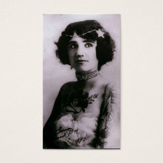 Tattooed woman - 1912 business card