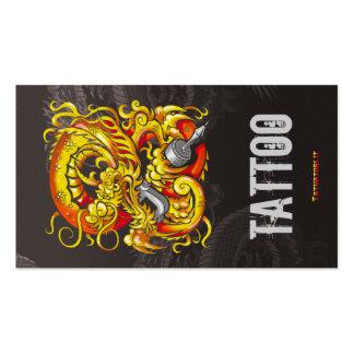 Tattooer Dragon Gold Business Card Templates