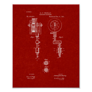 Tattooing Machine Patent - Burgundy Red Posters