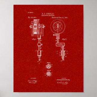 Tattooing Machine Patent - Burgundy Red Poster