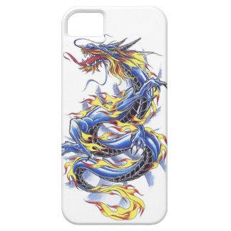 Tatttoo azul japonés oriental fresco del dragón funda para iPhone SE/5/5s