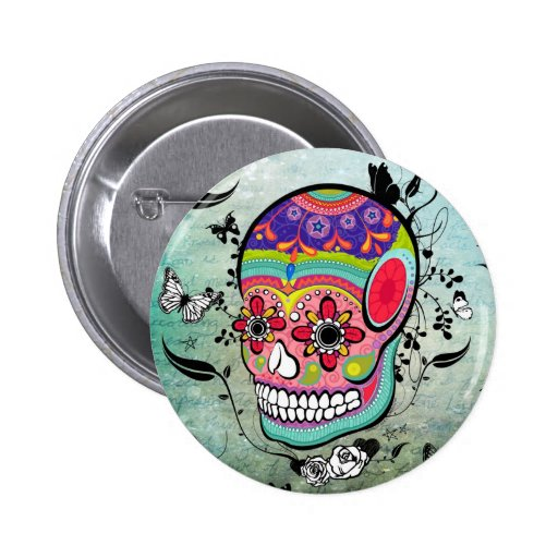 Tatttoo Urban Muerte Day of the Dead Illustration Buttons