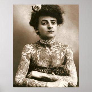Tatuado con las perlas, señora Poster del Victoria