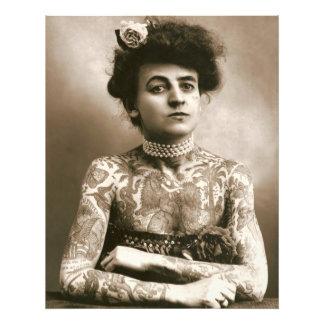 Tatuado con señora Framable Photo del Victorian de Cojinete