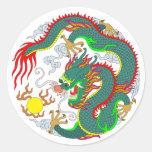 Tatuaje 1 del dragón etiqueta redonda