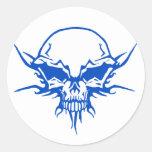 Tatuaje 2 del cráneo etiqueta redonda