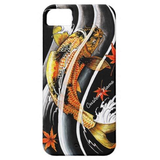 Tatuaje afortunado de los pescados de Koi del oro iPhone 5 Carcasas