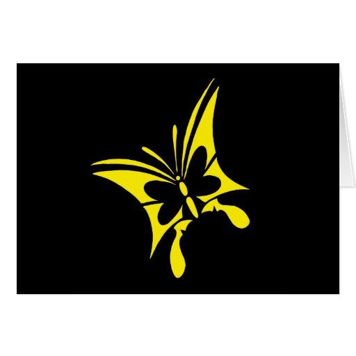 Tatuaje amarillo tribal de la mariposa felicitación