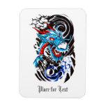 Tatuaje azul fresco del dragón imanes flexibles