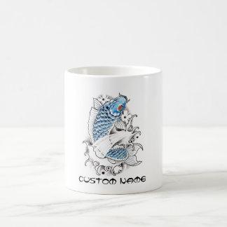 Tatuaje azul japonés oriental fresco de los pescad tazas