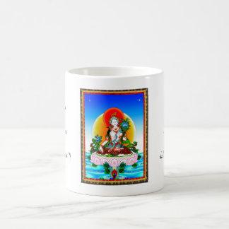 Tatuaje blanco de Tara del thangka tibetano Taza De Café