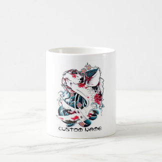 Tatuaje blanco japonés oriental fresco de los pesc tazas de café
