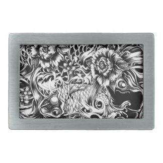 Tatuaje blanco y negro Art. de Koi del japonés Hebilla Cinturón Rectangular