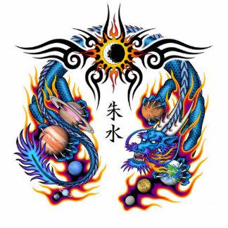 tatuaje chino del dragón escultura fotográfica