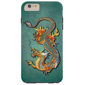 Tatuaje colorido fresco del dragón del fuego de la funda resistente iPhone 6 plus