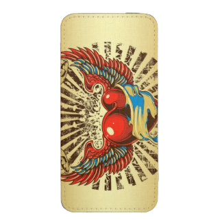 Tatuaje con alas del corazón funda acolchada para iPhone