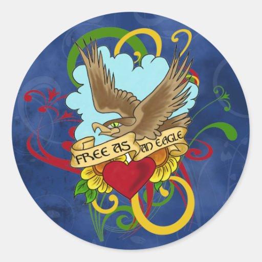 Tatuaje de Eagle del vuelo Etiqueta Redonda