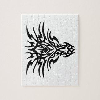 Tatuaje de la cara del dragón rompecabezas con fotos