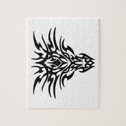 Tatuaje de la cara del dragón rompecabeza