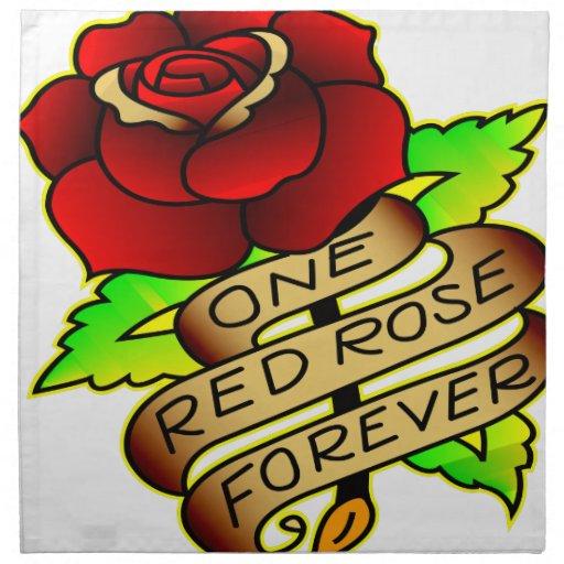 Tatuaje de la escuela vieja subió servilletas imprimidas