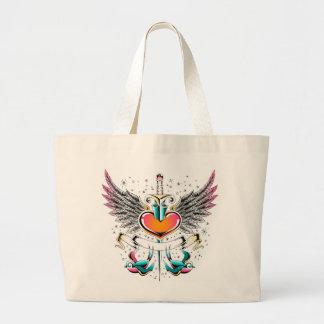 Tatuaje de la espada del corazón de las alas de bolsa tela grande