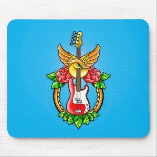 Tatuaje de la guitarra baja tapetes de ratón