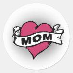 Tatuaje de la mamá etiquetas redondas