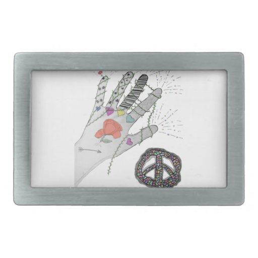 Tatuaje de la mano del hippy hebillas cinturon rectangulares