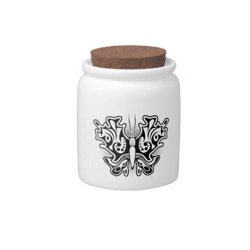 Tatuaje de la mariposa blanco y negro jarra para caramelo