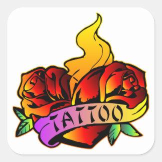 Tatuaje de los rosas de la escuela vieja pegatina cuadrada