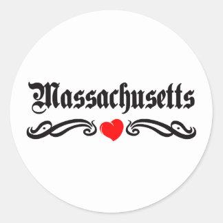 Tatuaje de Massachusetts Etiquetas Redondas