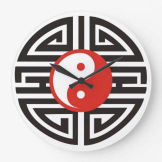 Tatuaje de Yin y de Yang - negro rojo Reloj De Pared