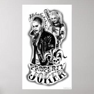 Tatuaje del aerógrafo del comodín y de Harley del Póster