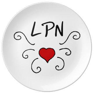 Tatuaje del amor de LPN Plato De Cerámica